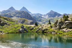 Ranas Lake in Tena Valley in The Pyrenees, Huesca, Spain. View of Ranas Lake in Tena Valley in The Pyrenees, Huesca, Spain stock images