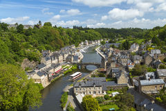 Rance River valley, Dinan harbour with Stone Bridge Royalty Free Stock Image