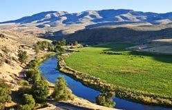 Ranch à distance, rivière de poudre, Orégon Images libres de droits