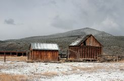 Ranch Buildings, Southern Utah, Highway 89. Worn barn and shed on ranch located in southern Utah early spring slight snow cover Royalty Free Stock Images