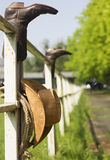Ranch with cowboy clothes Royalty Free Stock Image