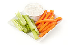 Ranch dressing with carrots and celery Royalty Free Stock Image