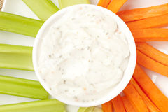 Ranch dressing with carrots and celery stock images