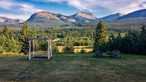 Ranch en vallée de malle, Alberta du sud, Canada Images stock