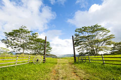 Ranch entrance in Hawaii stock images