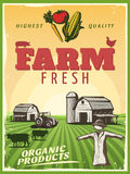 Ranch Farm Poster. Fresh organic products retro poster with highest quality background stylized ranch farm and strawman symbols vector illustration Stock Photos