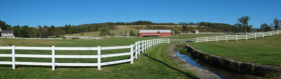 Ranch Fence Panorama. Panoramic view of ranch with white wooden rail fence border. Mountains of northeast Pennsylvania royalty free stock photo