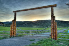 Ranch gate in the Rockies royalty free stock photo