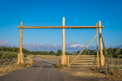 Ranch gate in Wyoming stock photography