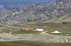 Ranch In The Hills. A ranch homestead tucked in the mountains stock photography