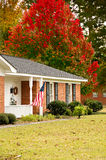 Ranch Home with Flag Royalty Free Stock Images