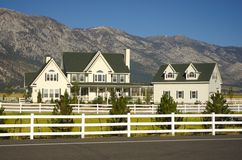 Ranch House. Beautiful luxury ranch home with sierra nevada mountains in background royalty free stock photography