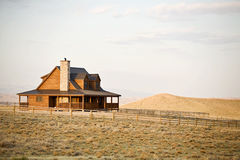 Ranch house in midwest. Ranch house newly constructed in late sun, rural midwest United States stock photos