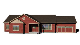 Ranch House - Red. Ranch style house on white background. Red siding, driftwood shingles, beige trim. High resolution and detailed Royalty Free Stock Photos
