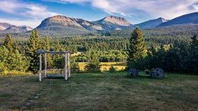 Ranch i resväskadalen, sydliga Alberta, Kanada Arkivbilder