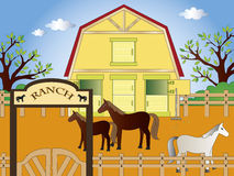 Ranch. Illustration of ranch with horses Stock Photos