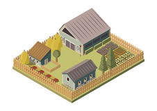 Ranch Isometric Layout. With barn and sheds stacks of hay garden beds and wooden fence vector illustration Stock Photography
