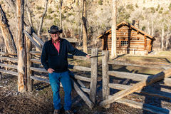 Ranch owner Vince Kotny poses in front of classic Western Historic   Royalty Free Stock Photos