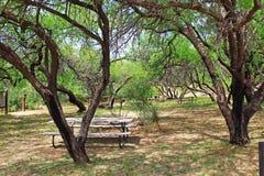Ranch-Picknickplatz La Posta Quemada im kolossalen Höhlen-Gebirgspark Stockfotografie
