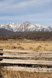 Ranch Range Fence Sun Valley Idaho Sawtooth Mountain Range Royalty Free Stock Images