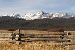 Ranch Range Fence Sun Valley Idaho Sawtooth Mountain Range Stock Photo