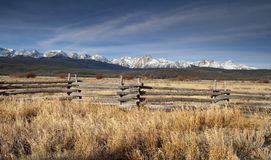 Ranch Range Fence Sun Valley Idaho Sawtooth Mountain Range Royalty Free Stock Photos