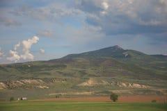 Ranch Scene Below Bakers Peak in Colorado. Green Meadows Ranch Scene Below Bakers Peak in Colorado royalty free stock photo