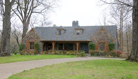 Ranch Style Cobblestone and Gray Home. Beautiful Two-Story Cobblestone Ranch Style Home located in Collierville, Tennessee, just outside of Memphis Tennessee Stock Photos