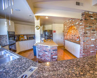 Ranch style kitchen with granite counter tops Stock Photos