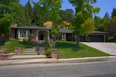 Ranch Styled Home. Exterior shot of a ranch styled home that was recently remodled in Northern California Stock Photo
