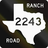 Ranch-To-Market-Road Shield. US ranch-to-market-road shield in texas. The sign contains a silhouette of the state Royalty Free Stock Photos