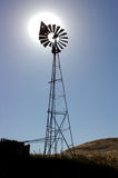 Ranch Windmill, Sun Behind Stock Images