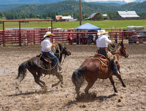 Ranchers competing at a rodeo in colorado Stock Photo