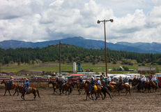 Ranchers gathering for a rodeo in colorado Stock Photo