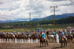Ranchers gathering for a rodeo in colorado Stock Images