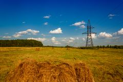 Ranches of hay in a meadow Royalty Free Stock Photo