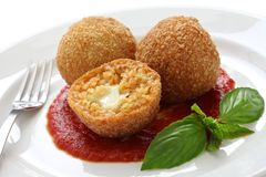 Rancini, fried rice balls. Arancini, fried rice balls, italian cuisine Stock Photo