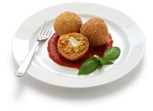 Rancini, fried rice balls. Arancini, fried rice balls, italian cuisine Royalty Free Stock Photos