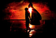 Rancune rouge avec le femme et le Sun Photographie stock libre de droits