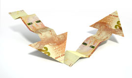 Rand Bank Note Recovery Trend-Pijlen Stock Afbeelding