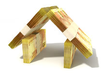 Rand bank notes house. Stacks of two hundred rand bank notes assembled in the shape of a house on an isolated background Royalty Free Stock Photography