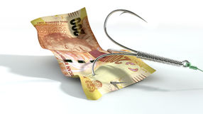 Rand Banknote Baited Hook Stock Photography