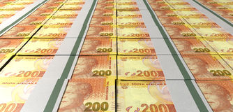 Rand Bill Bundles Laid Out Stock Images
