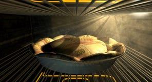 Rand Money Pie Baking In el horno Fotografía de archivo libre de regalías