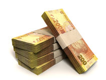 Rand Notes Bundles Stack. A stack of bundled two hundred rand notes on an isolated background Royalty Free Stock Photo