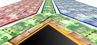 Rand Notes Flag surafricano Imagen de archivo libre de regalías