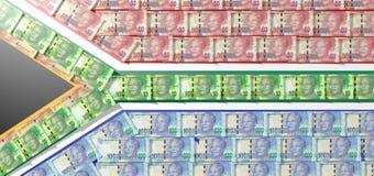 Rand Notes Flag surafricano Fotografía de archivo libre de regalías