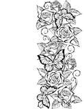Rand van contour van rozen en vlinders Stock Foto's