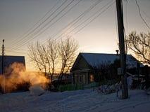 Rand van kleine stad in de winter Royalty-vrije Stock Afbeelding