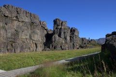 Rand van tectonische platen dichtbij Oxararfoss in Thingvellir-park Royalty-vrije Stock Afbeeldingen